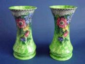 Rare Maling Green Lustre 'Honeycomb and Daisy' Vases c1936